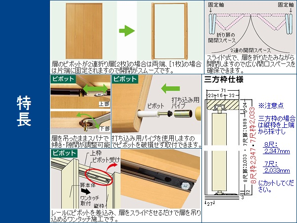 OUTLET建材倉庫-アウトレット建材】収納扉セット ピボット フラット CT色 三方固定枠 [高]8尺2347 [幅]1639 [見込・奥行]78mm ノダ